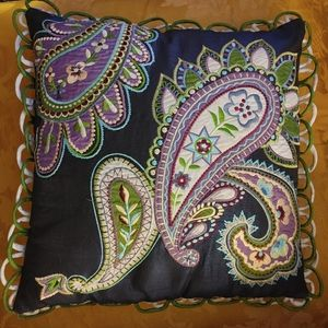 "Pier 1 paisley embroidered 16"" x 16"" accent pillow"